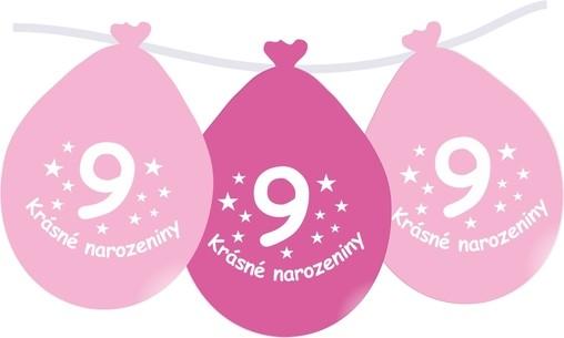 Narozeninové balónky růžové s potiskem 9 visící - 5 ks