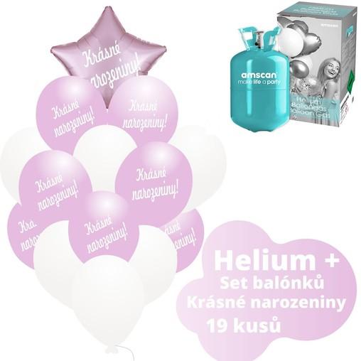 Helium sada - světlerůžové balónky s českým potiskem KRÁSNÉ NAROZENINY