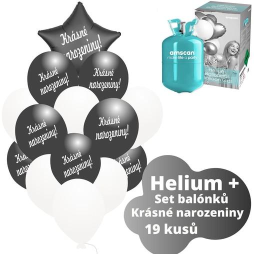 Helium sada - černé balónky s českým potiskem KRÁSNÉ NAROZENINY