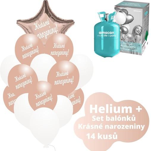 Helium sada - růžovo-zlaté balónky s českým potiskem KRÁSNÉ NAROZENINY