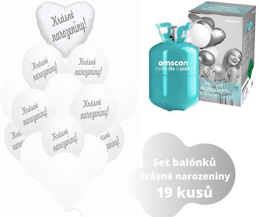 Helium sada - srdce bílé a balónky s českým potiskem KRÁSNÉ NAROZENINY