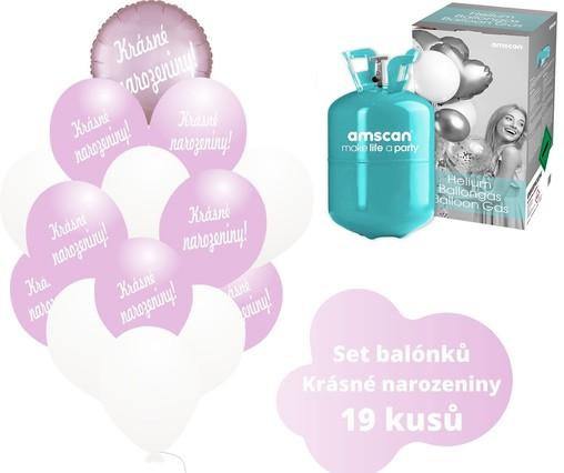 Helium sada - kruh světlerůžový a balónky s českým potiskem KRÁSNÉ NAROZENINY