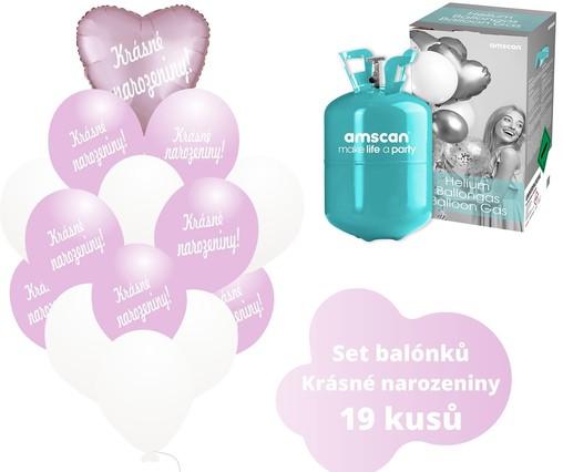 Helium sada - srdce světlerůžové a balónky s českým potiskem KRÁSNÉ NAROZENINY