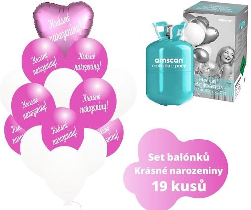 Helium sada - srdce a tmavé fuchsia balónky s českým potiskem KRÁSNÉ NAROZENINY