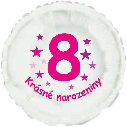 Krásné 8. narozeniny fóliový balónek kruh pro holky