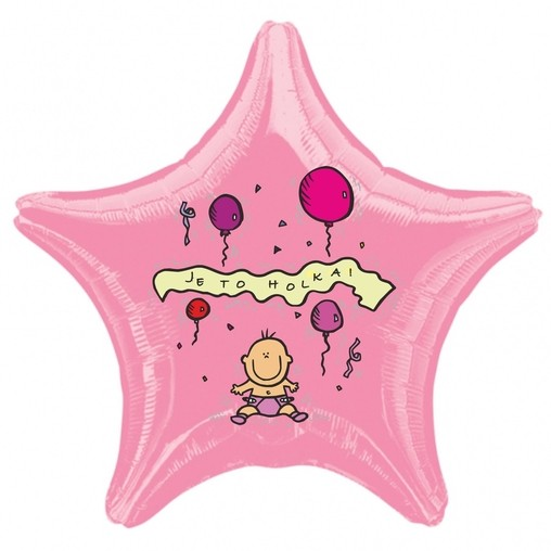 Balónek fóliový světle růžová hvězda Je to holka!