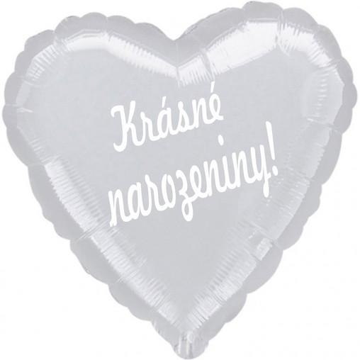 Balónek fóliový stříbrné srdíčko Krásné narozeniny!