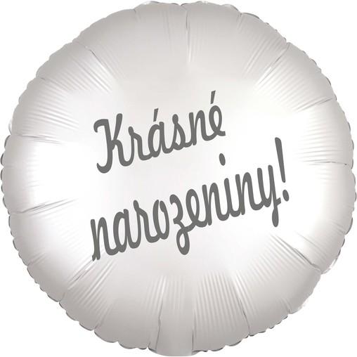 Balónek fóliový bílý satén kruh Krásné narozeniny!