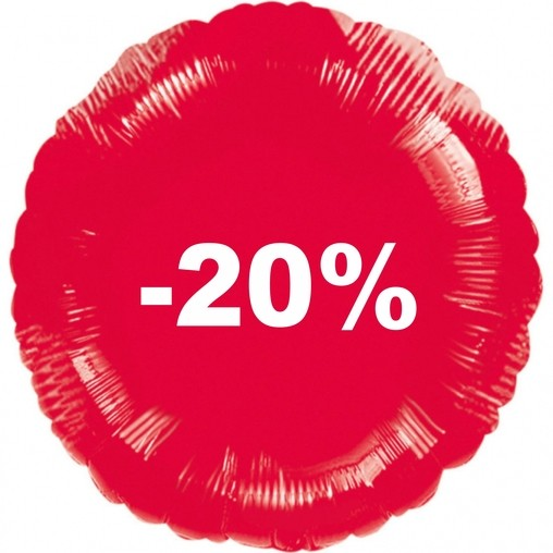 Balónek fóliový červený -20%