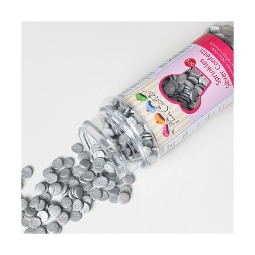 Sypání na dort FunCakes stříbrné konfety 60g