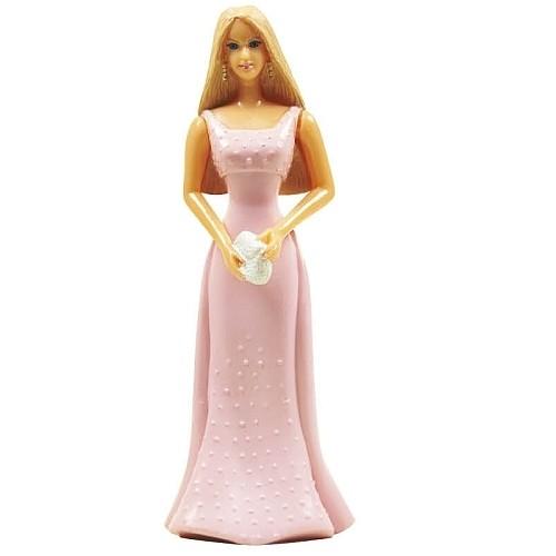 Figurka Barbie růžové šaty 13 cm